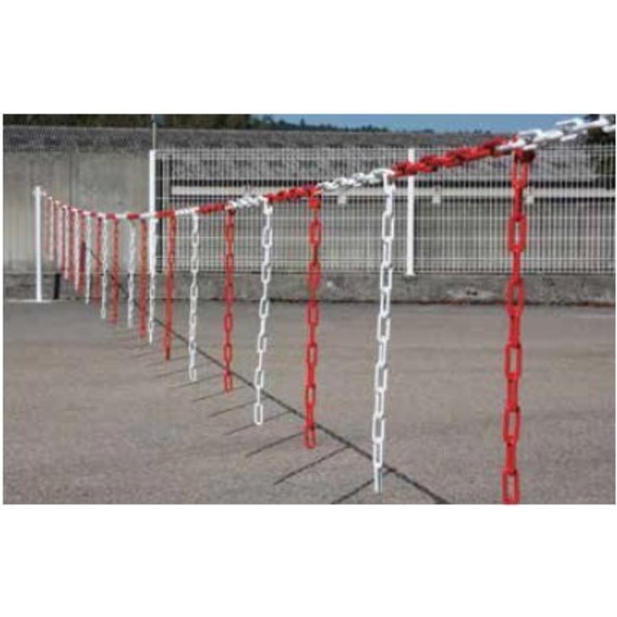 Barrière de chaîne 5 m x Ø 6mm avec morceaux de chaîne Rouge/Blanc-1