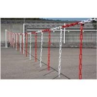 thumb-Barrière de chaîne 10 m x Ø 6 mm avec morceaux de chaîne Rouge/Blanc-1
