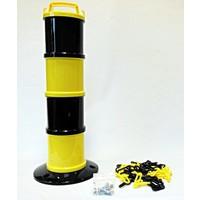 thumb-Balise modulaire Jaune / Noir Ø 200 mm 5 m chaîne-1