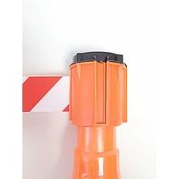 thumb-Haspel met uittrekbare rol afzetlint voor verkeerskegels. 3 m x 50 mm. Rood Wit.-1