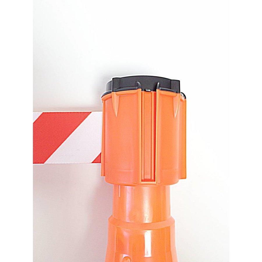 Haspel met uittrekbare rol afzetlint voor verkeerskegels. 3 m x 50 mm. Rood Wit.-1