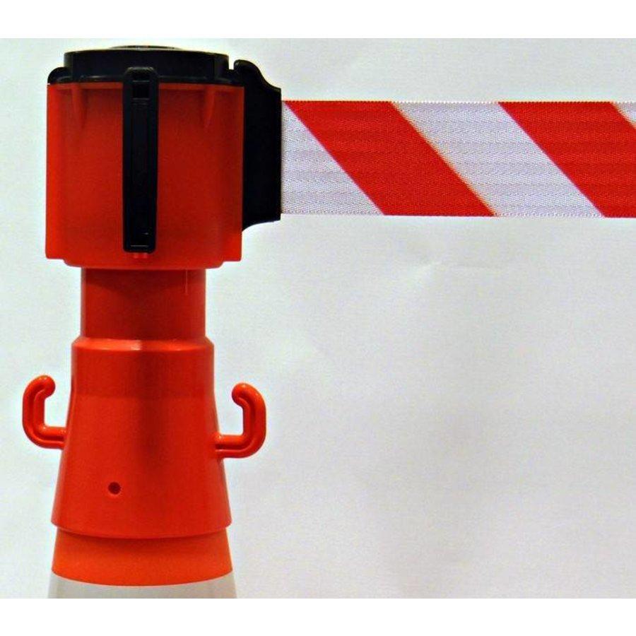 Haspel met uittrekbare rol afzetlint voor verkeerskegels. 3 m x 50 mm. Rood Wit.-2