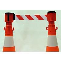thumb-Haspel met uittrekbare rol afzetlint voor verkeerskegels. 3 m x 50 mm. Rood Wit.-3