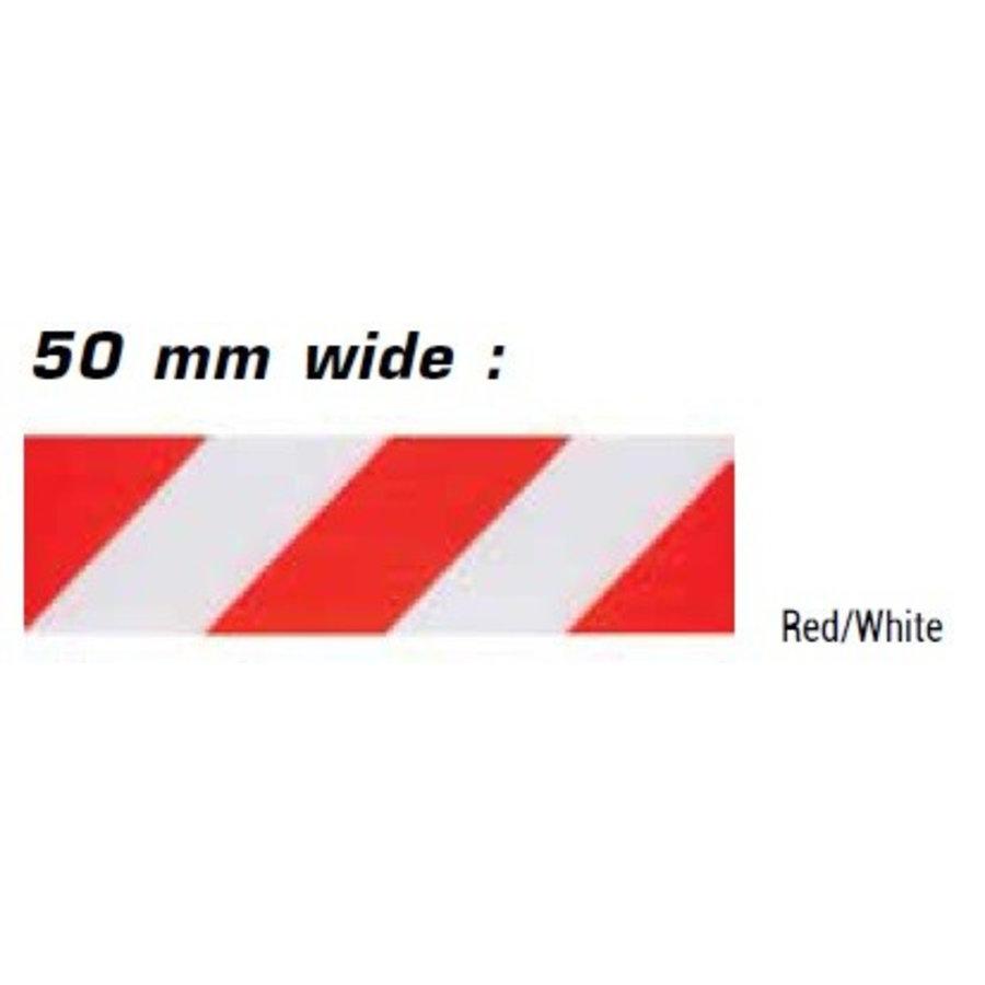 Haspel met uittrekbare rol afzetlint voor verkeerskegels. 3 m x 50 mm. Rood Wit.-5