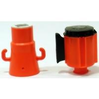 thumb-Haspel met uittrekbare rol afzetlint voor verkeerskegels. 3 m x 50 mm. Rood Wit.-6