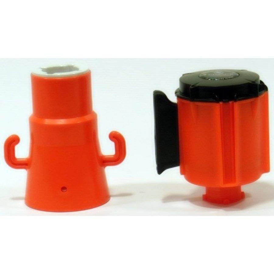Haspel met uittrekbare rol afzetlint voor verkeerskegels. 3 m x 50 mm. Rood Wit.-6