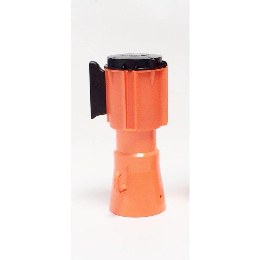 Haspel met uittrekbare rol afzetlint voor verkeerskegels. 3 m x 50 mm. Rood Wit.-7