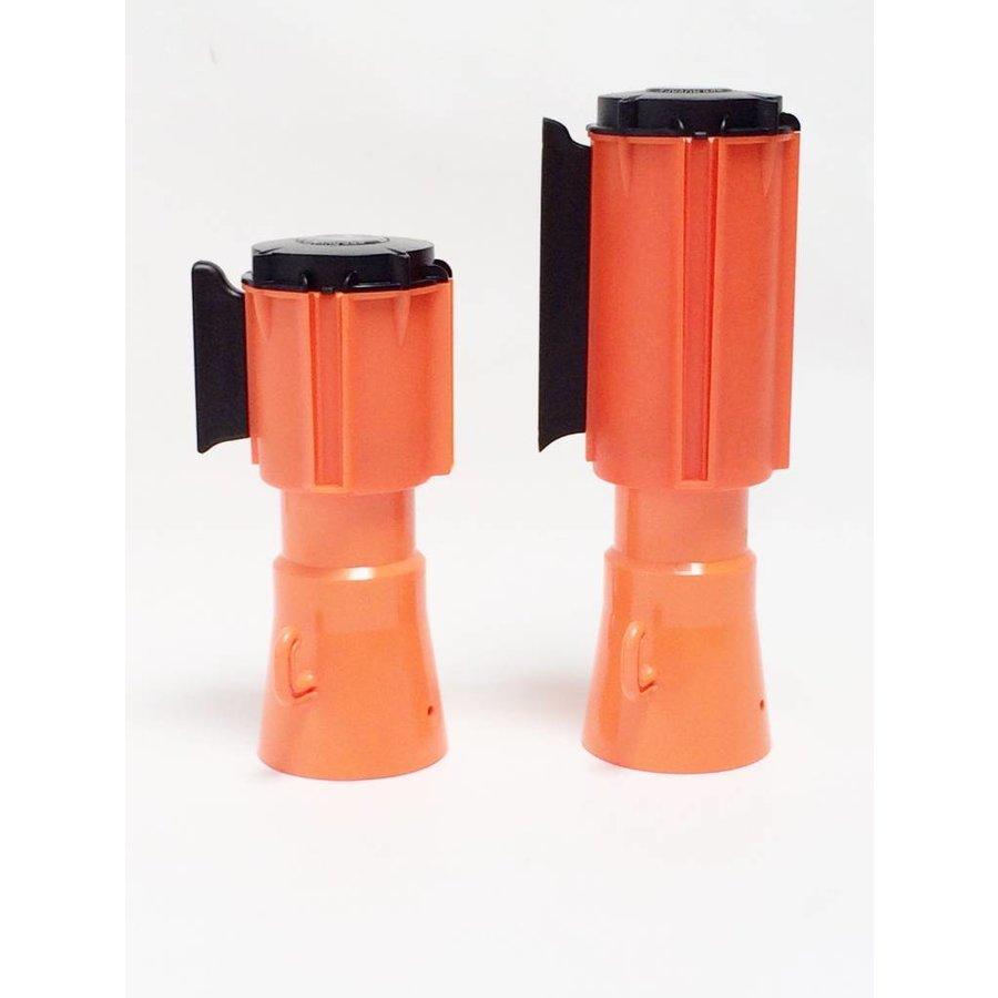 Haspel met uittrekbare rol afzetlint voor verkeerskegels. 3 m x 50 mm. Rood Wit.-8
