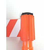 thumb-Haspel met afzetlint voor verkeerskegels - 3 m x 100 mm. Rood Wit.-1
