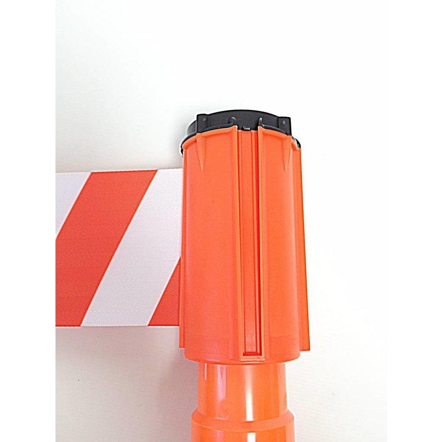 Haspel met afzetlint voor verkeerskegels - 3 m x 100 mm. Rood Wit.-1