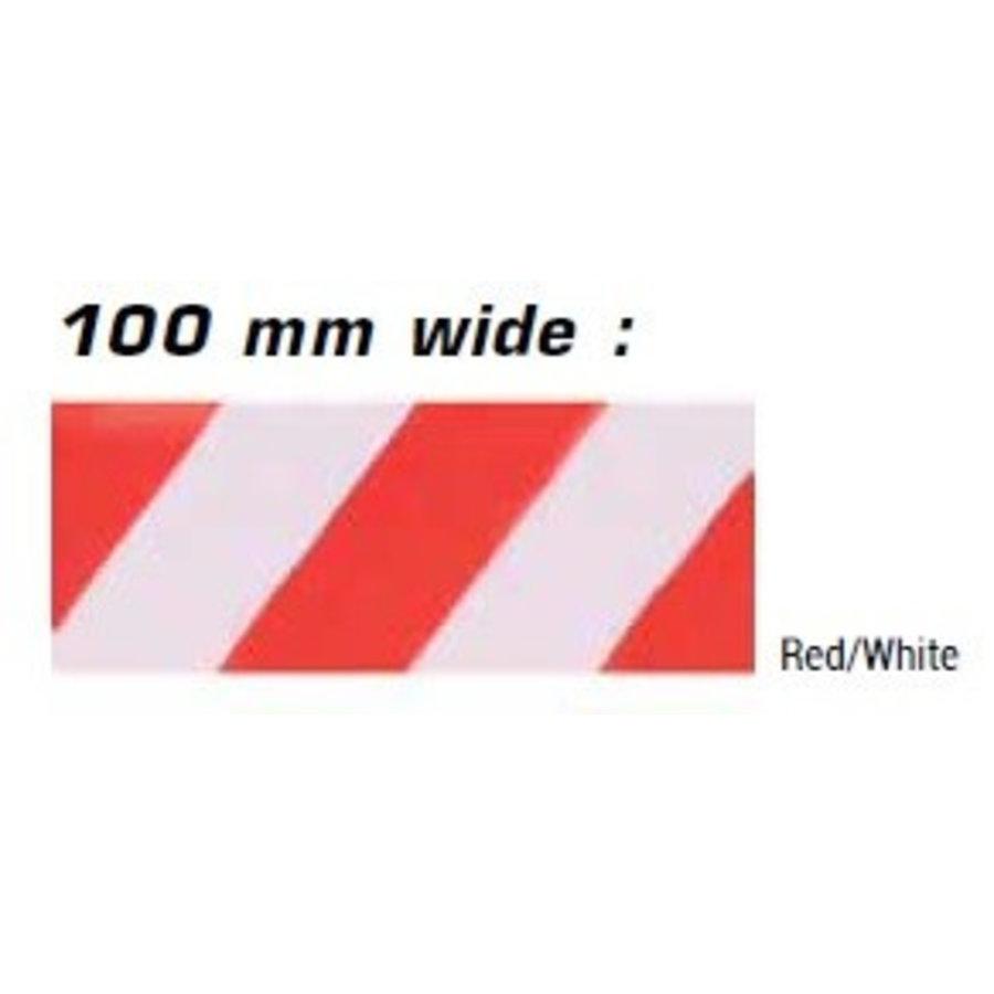 Haspel met afzetlint voor verkeerskegels - 3 m x 100 mm. Rood Wit.-2