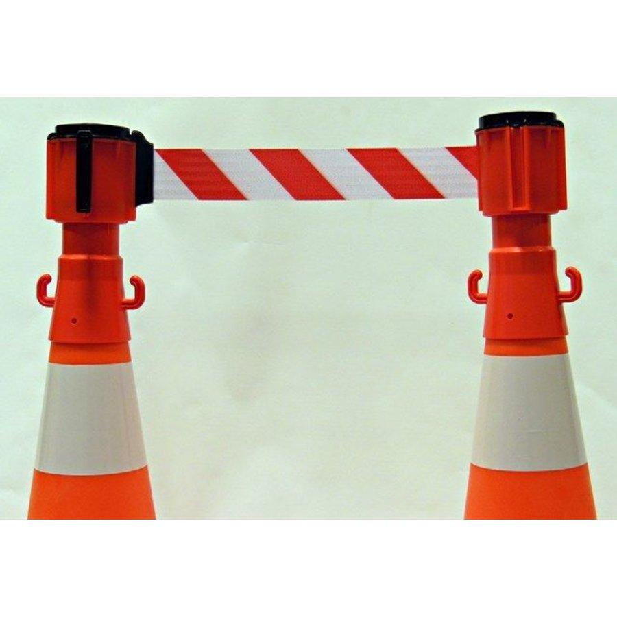 Dérouleurs de sangle pour cônes - 3 m x 100 mm - Rouge & Blanc.-4