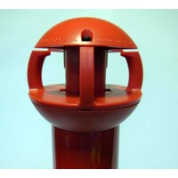 thumb-Aluminium kettingpaal 97 cm x Ø 60 mm. 4 haken + voetstuk met 2 reflectoren-2