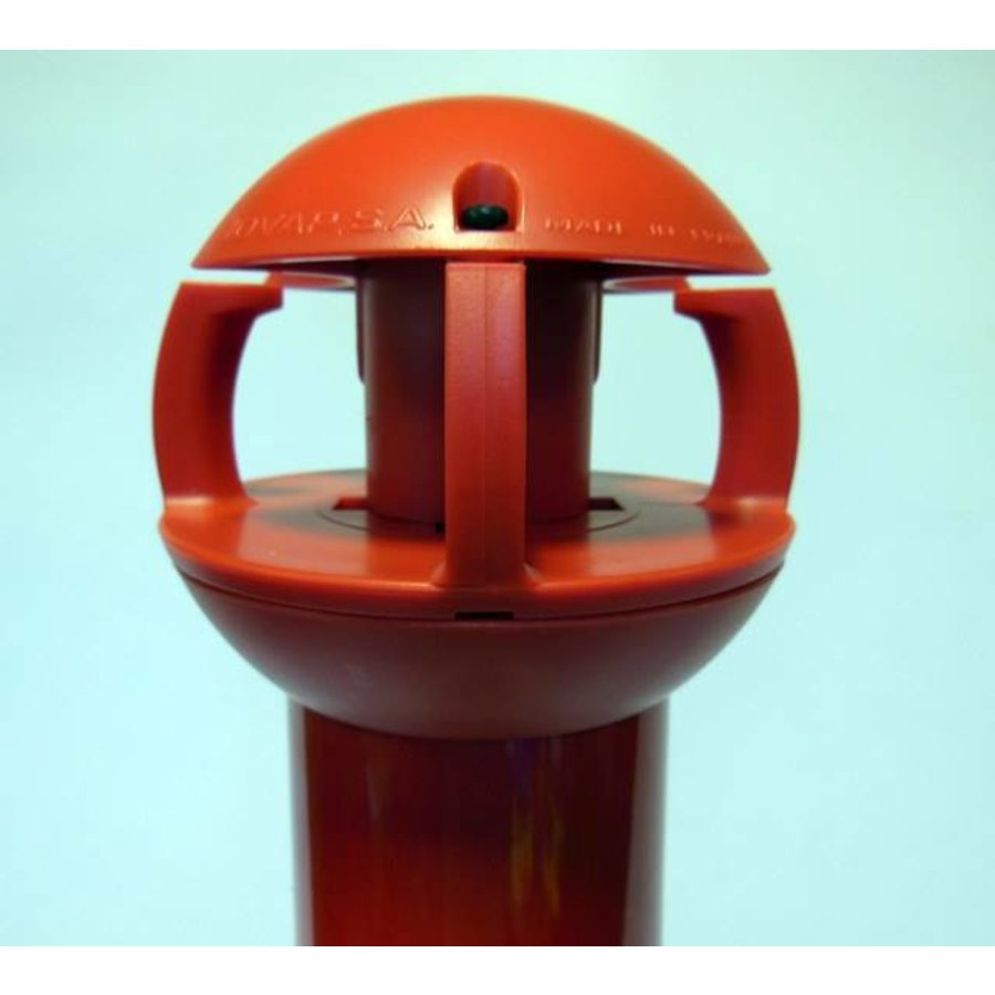 Aluminium kettingpaal 97 cm x Ø 60 mm. 4 haken + voetstuk met 2 reflectoren-2
