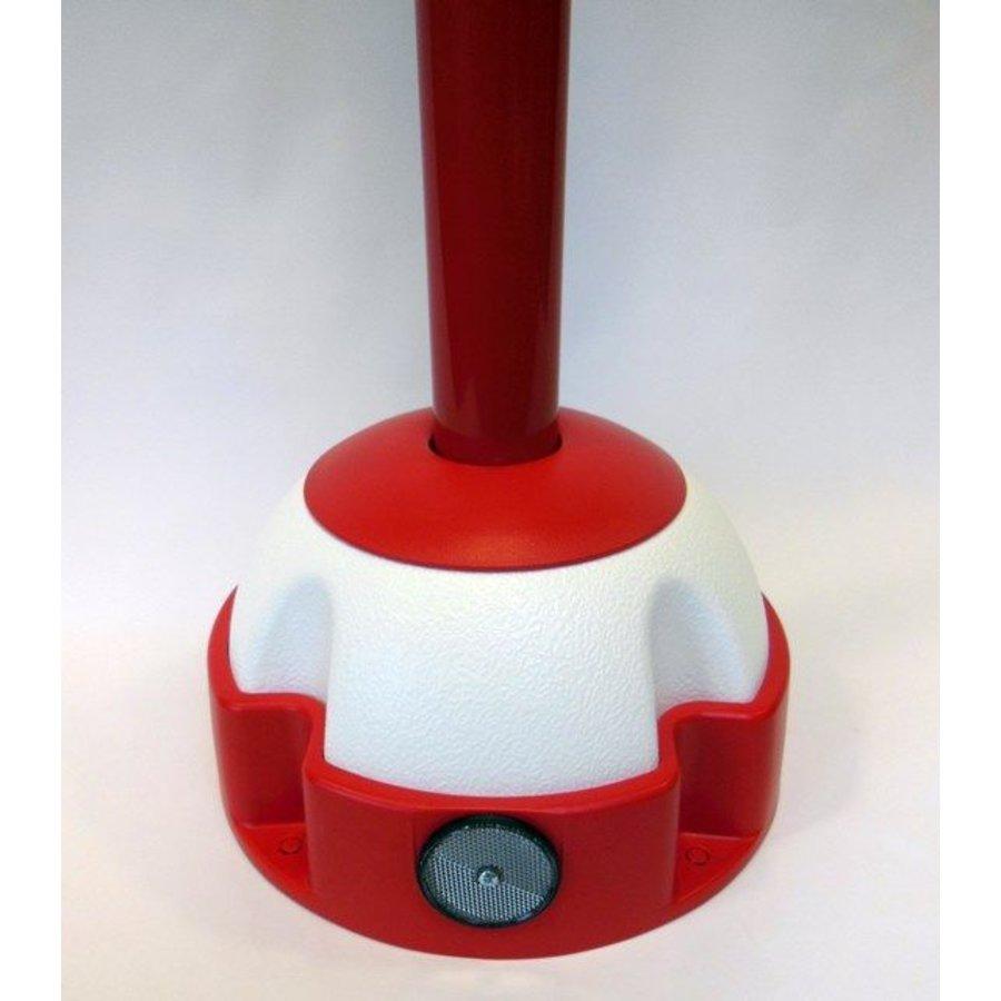 Aluminium kettingpaal 97 cm x Ø 60 mm. 4 haken + voetstuk met 2 reflectoren-3