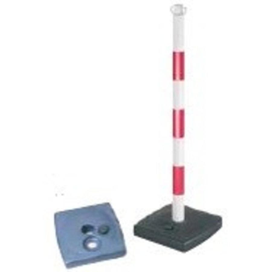 Poteau PVC socle chantier 4 kg à lester. 90 cm. Rouge / Blanc-3