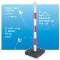 thumb-Poteau PVC socle chantier 4 kg à lester. 90 cm. Rouge / Blanc-4