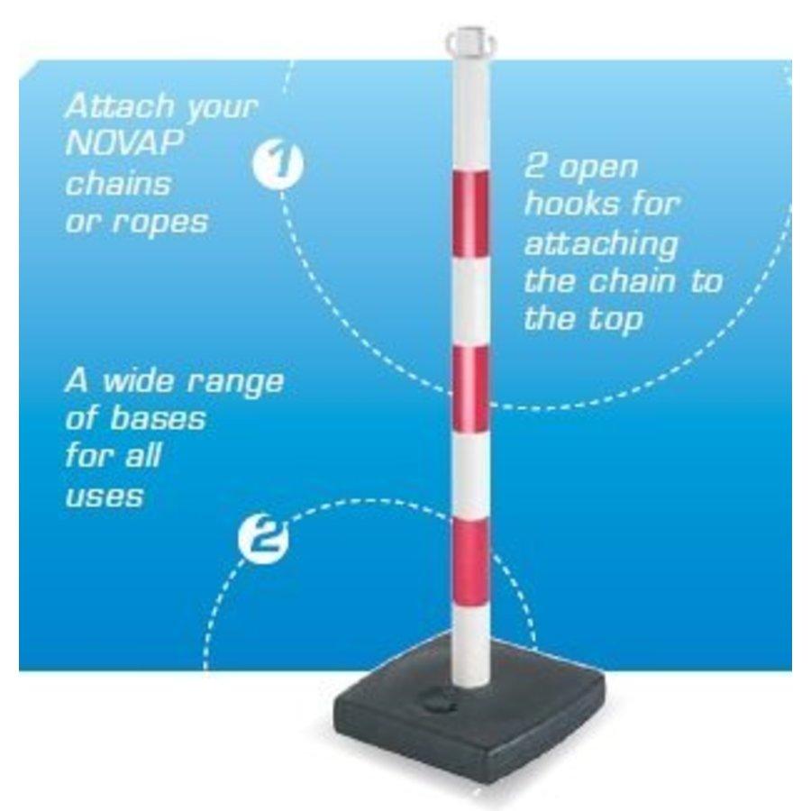 Poteau PVC socle chantier 4 kg à lester. 90 cm. Rouge / Blanc-4