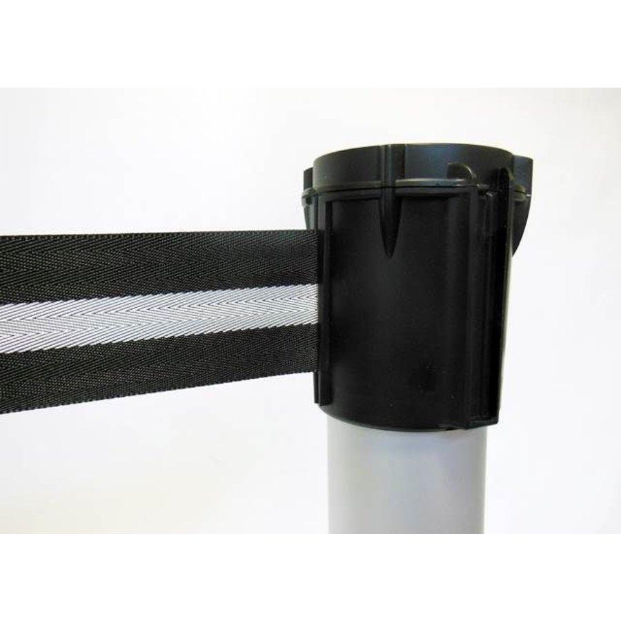 Alu paaltje met oprolbaar afzetlint kleur zwart / zilver 3 m.-2