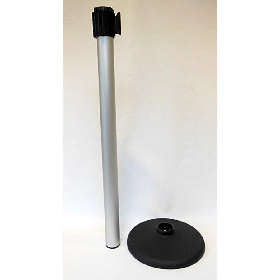 Alu paaltje met oprolbaar afzetlint kleur zwart / zilver 3 m.-3