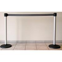 thumb-Mât en aluminium rétractable avec la couleur de la bande de barrière noir / argent 3 m.-4