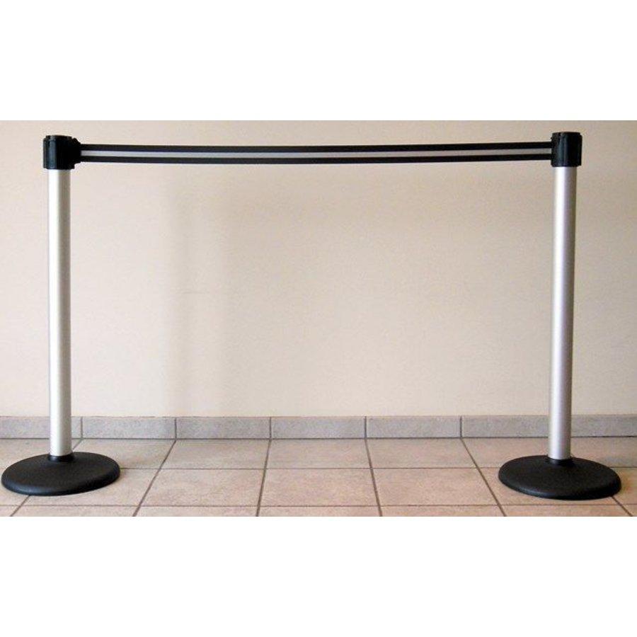 Mât en aluminium rétractable avec la couleur de la bande de barrière noir / argent 3 m.-4