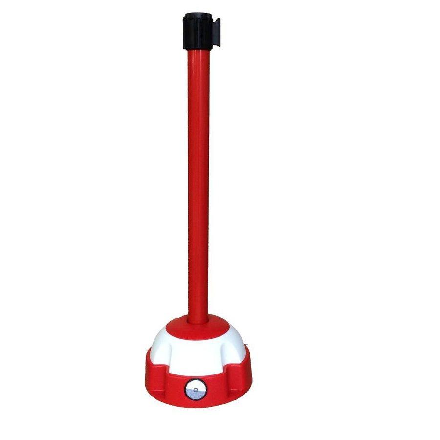 Poteau Alu Rouge laqué à sangle Rouge 3m x 50mm sur socle balise-1