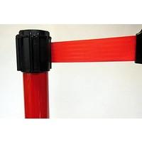 thumb-Poteau Alu Rouge laqué à sangle Rouge 3m x 50mm sur socle balise-2