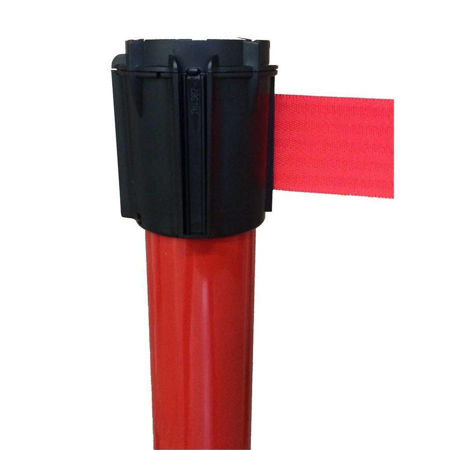 Rood gelakt aluminium paal met haspel incl. rood lint 3 m x 50 mm-3