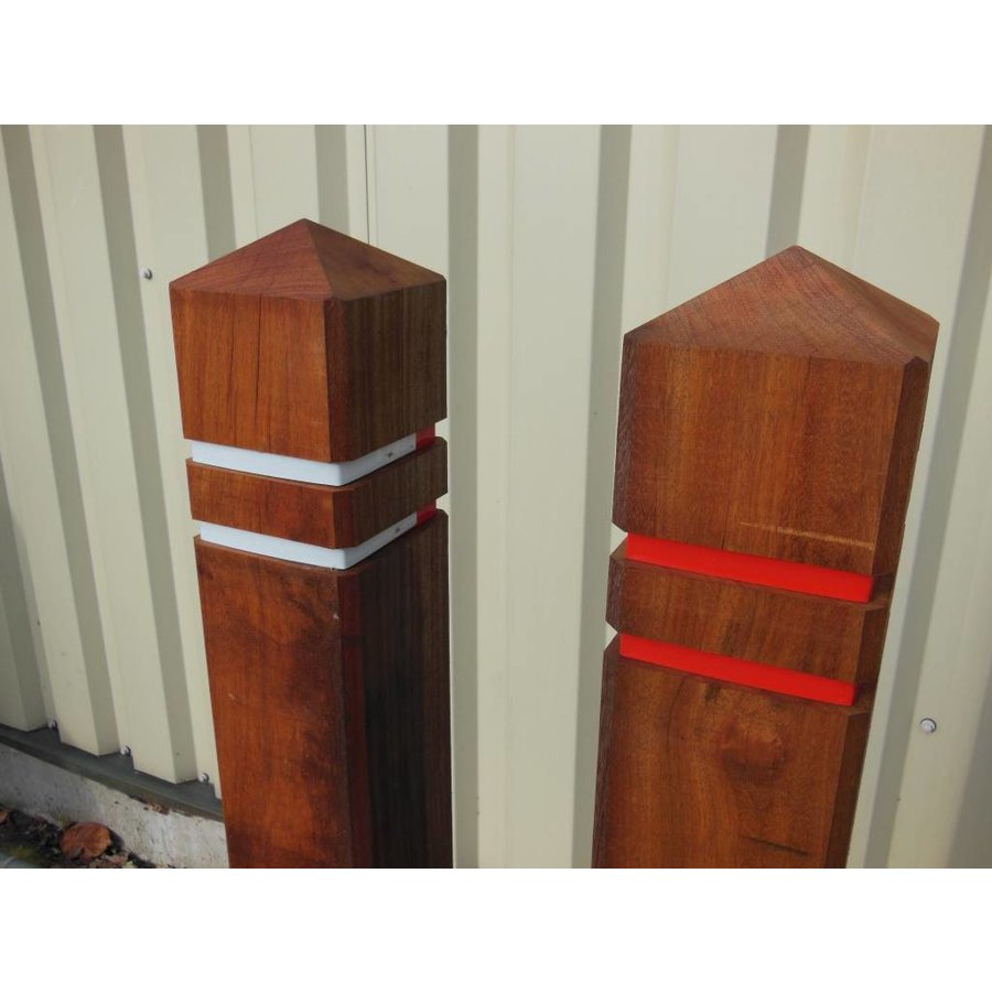 Potelet anti-stationnement bois azobé tête diamant 15 x 15 x 140 cm + 2 bandes réfléchissantes-8