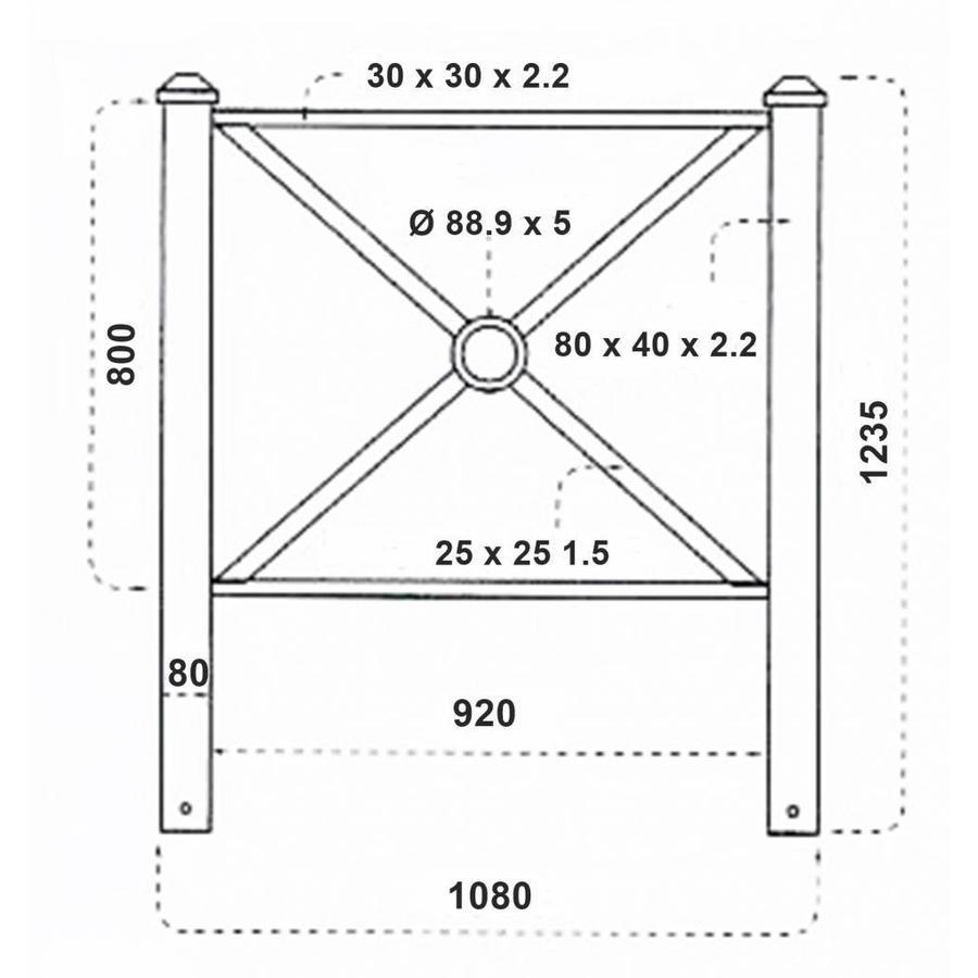 Barrière PAGODE 108 cm - Vert Ral 6009-3