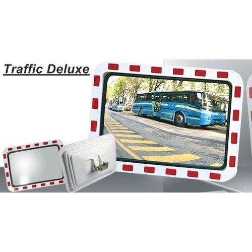 Miroir de circulation 'TRAFFIC DELUXE' 800 x 1000 mm - rouge/blanc
