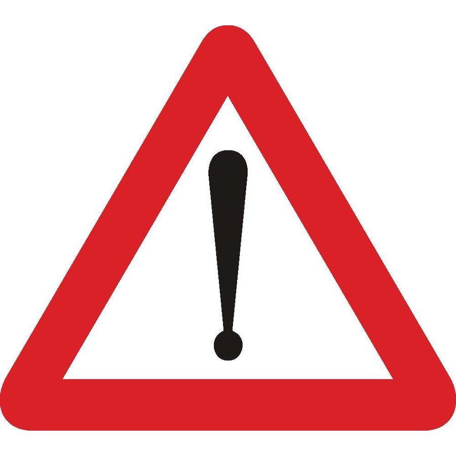 Bord A51: Gevaar dat niet door een speciaal symbool wordt bepaald. Een onderbord duidt de aard van het gevaar aan.-1