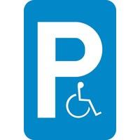 Bord E9a: Parkeren voorbehouden voor voertuigen die gebruikt worden door personen met een handicap.