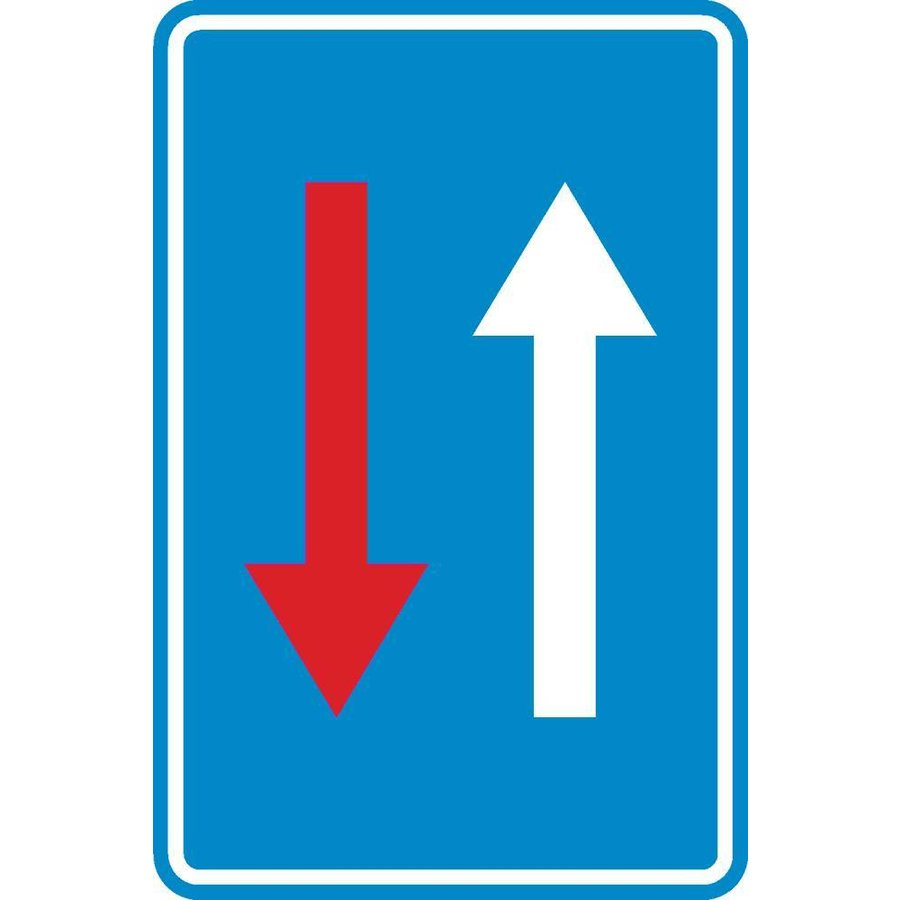 Panneau C18: Priorité par rapport à la circulation venant en sens inverse-1