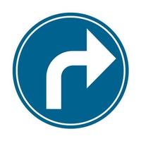Bord D1f: Verplicht naar rechts afslaan