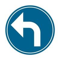 Panneau B21c2: Obligation de tourner à gauche