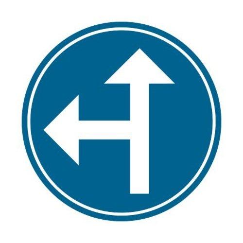 Panneau B21d1 Obligation d'aller à gauche ou aller tout droit
