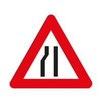 Panneau A7b: Chaussée rétrécie par la gauche