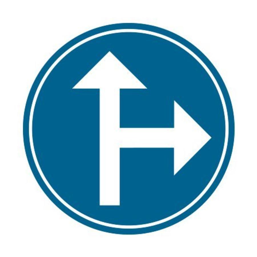 Panneau D3b: Obligation d'aller à droite ou aller tout droit-1