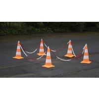 thumb-Ensemble de 5 cônes (50 cm) et 7.5 m chaine de signalisation (Ø 8mm)-5