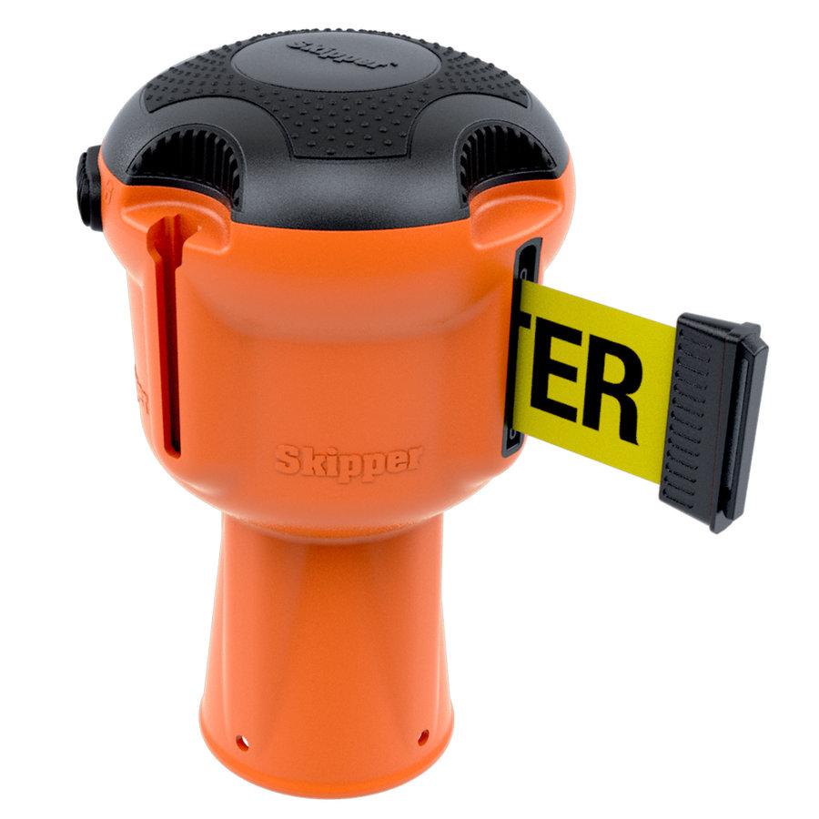 Enrouleur de sangle  SKIPPER avec 9 mètres de ruban de signalisation jaune/noir - CAUTION DO NOT ENTER-1