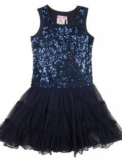 LoFff Blauwe jurk met glitter, mt 98