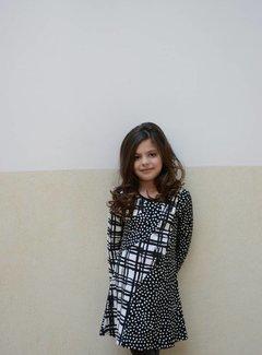 LoFff Zwart-witte grafische print jurk, mt 98