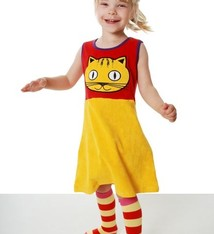 DUNS Sweden Overgooier badstof Kat, rood geel