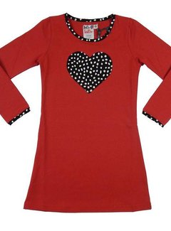 LoFff Winterjurkje hart rood  - maat 152/158