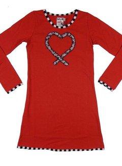 LoFff Winterjurkje hart ruches rood  - maat 152/158