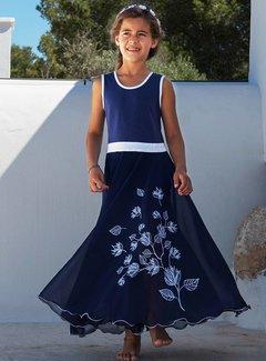 LoFff Maxi jurk  blauw, mt 92 en 98