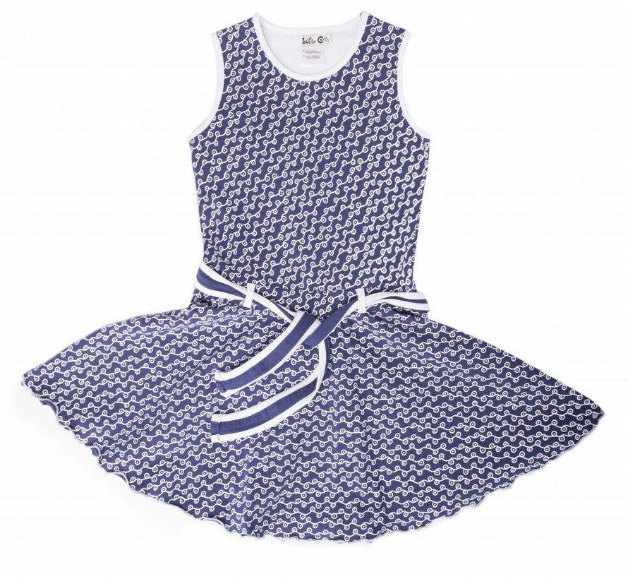 Blauw witte jurk van  LoFff zomer 2018