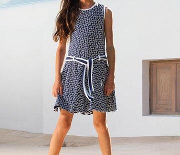 LoFff Blauw witte jurk